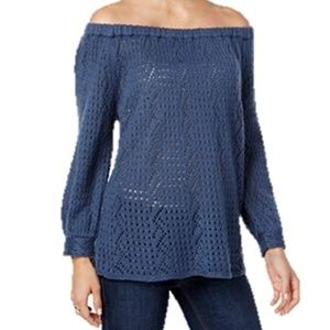 NWT Style & Co Size Small Blue Scoop Neck Sweater